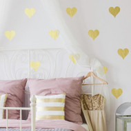 Let your light shine among the glitz and glam decor of Gold Foil Hearts Wall Decals. Jazz up those walls as you bring the chic elegant style of little perfectly shaped gold hearts with the right touch of gold.
