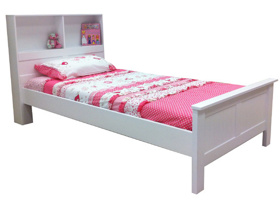 Angel Bed Frame features a bookcase style bed head. Great storage option.