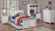 Cody Bed features straight lines and a solid head and foot boards. Picture shown with coordinating Cody furniture.
