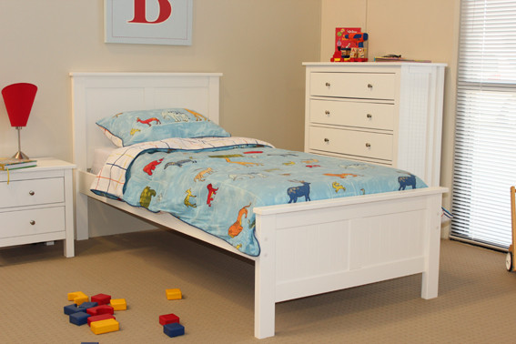 Lilydale Bed Frame features straight lines and a solid head and foot boards. This model is very popular for all ages of boys and girls. Available in Low Gloss White. Available in All Sizes.