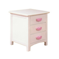 Hearts Three Drawer Bedside table features three drawers on metal runners. The bedside suits our Hearts bed frame and furniture. Pink Timber Hearts Handles.