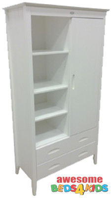 Minee Moi Bookcase with Drawers offers a all in one combination. The use of 3 shelf bookcase plus 2 drawers for storage and a wardrobe with an extra shelf inside. Matches all our low gloss white furniture.