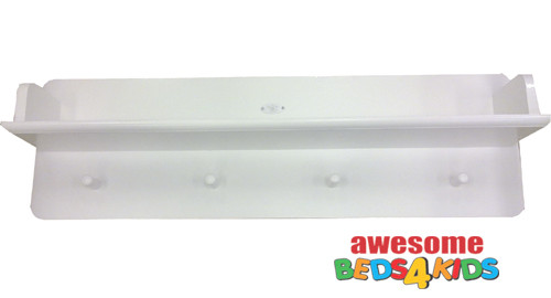 Wall Bookshelf with Hat Holder matches all our white low gloss furniture and features a shelf and with four coat or hat pegs underneath.