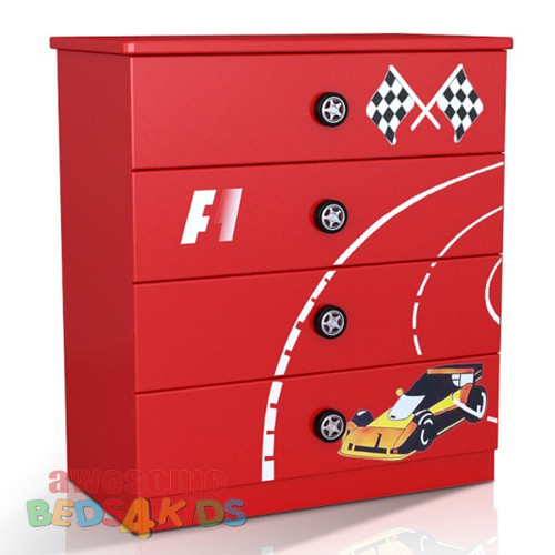 F1 Tallboy completes your child's bedroom racing car theme. Great storage and great value for money. Available in Red or Blue. Co-ordinates with most of the novelty beds. On premium metal runners. Good size drawers.