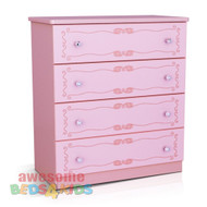Princess Tallboy completes your little girls bedroom princess theme. Great storage and great value for money. Co-ordinates with all pink novelty beds.