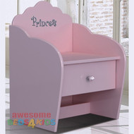 Princess One Drawer Bedside Table completes your little girls bedroom princess theme. Great storage and great value for money. Co-ordinates with all pink novelty beds.
