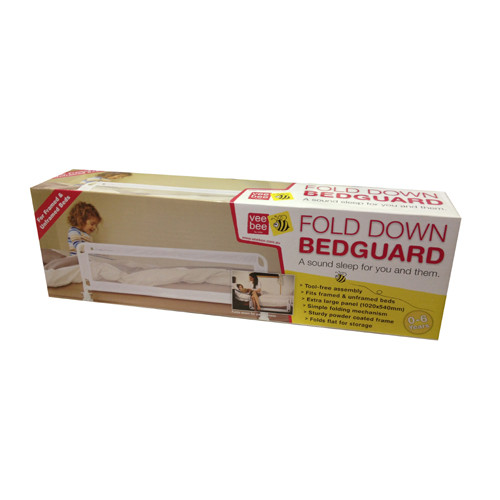 The Vee Bee fold down bed guard is the perfect solution for all bed types. The rail works easily on all bed frames and ensemble beds.