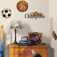 This pack of all star sports wall stickers will appeal to soccer, baseball, football, and basketball fans!