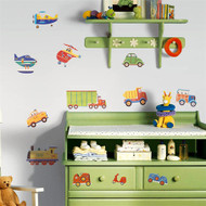 A bright collection of transportation vehicles from trains to scooters; this is a big choice for boys bedrooms.