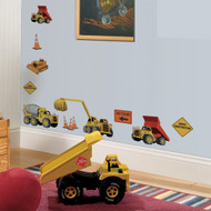 No need for a hard hat! Our Under Construction set of wall stickers comes complete with brightly colored dump and cement trucks, cranes, and construction signs.