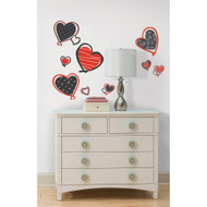 Add a pop of colour to your room with the addition of these black, red, and white hearts.