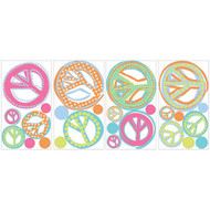 Give peace a chance! The classic peace sign is back and more popular than ever, and these glitter-covered wall decals are perfect for all ages.