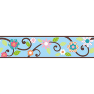Blue Floral Scroll Peel & Stick Border