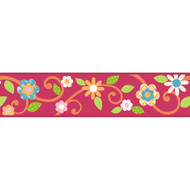 Magenta Floral Scroll Peel & Stick Border