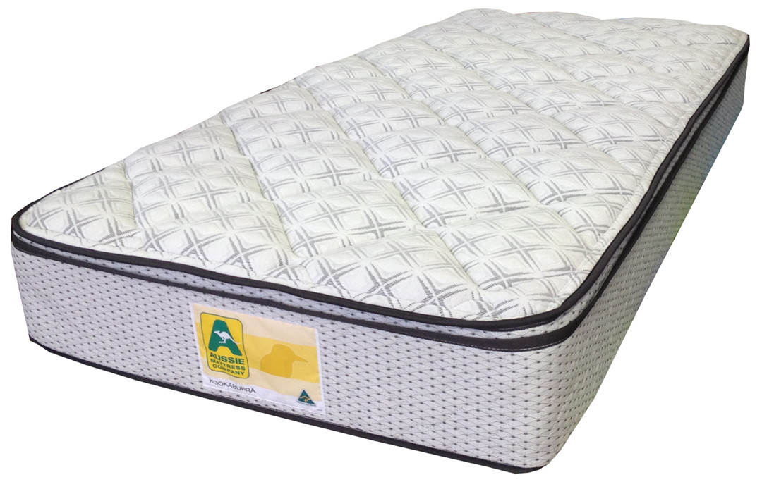 "Kookaburra innerspring mattress features a ""No Turn"" pillowtop mattress with a 5 year warranty and quality stretch knit cover"