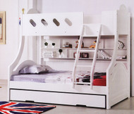 Chloe Bunk Bed,  Double Single Bunk Bed features a curved head and foot board joining the top and bottom bunks making the style very unique. Includes single pullout storage trundle. Double Bunk Bed.