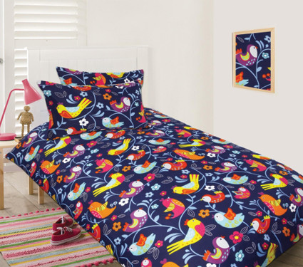 Bright Birds quilt cover set is made from a 100% Polyester. Washes easily & dries quickly. Glows in the dark.