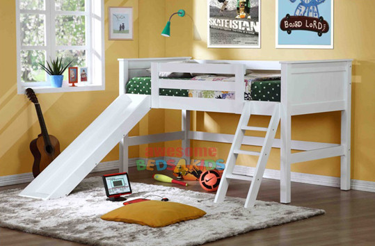 Jamaica space saver midi sleeper with Slippery Dip. Available in single size and king single sizes. Hardwood with mixed ply and MDF. Ladder or Slippery Dip can go at either end of bed.