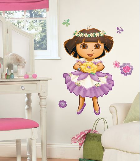Dora 39 s enchanted forest giant wall sticker awesome beds for Dora the explorer wall mural