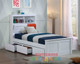 Botany bed frame features handy pull down storage in the bed head as well as plenty of space for night lights, books and trinkets.
