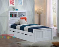 Botany bed frame features handy pull down storage in the bed head as well as plenty of space for night lights, books and trinkets. Complete with single storage trundle drawer, which is great for kids sleepovers and extra storage..