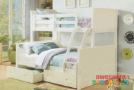 Jordon Double/Single Bunk Bed is great value! Double bottom bed with solid head and footboards.