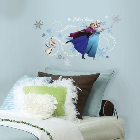 The icy adventures of the hit Disney movie Frozen meet the walls of your little one's bedroom with these Frozen Custom Headboard Featuring Elsa, Anna, & Olaf wall stickers!