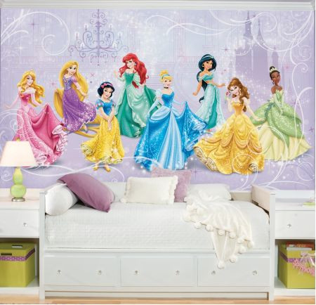 Make a royal debut with your favorite Disney Princess characters! You can delight your own little princess with this chair rail size Disney Princess wallpaper mural.