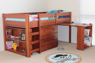 The Single Kendall Reversible midi sleeper features a single bed with 3 large drawers, book case, as well as pull out desk computer desk that slides all the way under the bed.