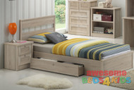 Capri bedroom suite is a very modern and practical bedroom solution for boys or girls. Suite includes bed, under bed storage drawer on runners (which can go on either side), one drawer bedside table, four drawer tallboy, bookcase and desk and hutch.