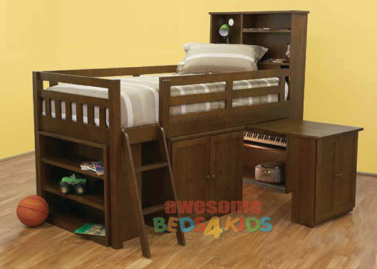 Mayne Midi Sleeper is an Awesome all in one solution for small rooms features handy storage bookcase bed head. Pullout desk with cupboard with internal shelfs plus cabinet and small bookcase. Bed is made from combination of Plywood, Pine and MDF.