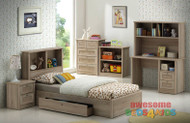 Broadbeach Bed with Underbed Drawers is a very modern and practical bedroom solution for boys or girls. Bed includes bookcase bedhead with large pullout drawer on runners. Awesome Value! The picture doesn't do the finish justice. Modern laminated washed natural oak colour. Available in Single and King Single.