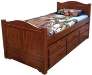 Manly Captains Bed features a beautifully curved solid bed head and matching footboard.