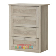 Broadbeach 4 Drawer Tallboy. Metal Extension Runners.