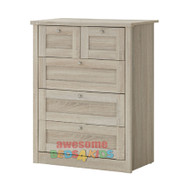 Broadbeach 5 Drawer Tallboy. Metal Extension Runners.