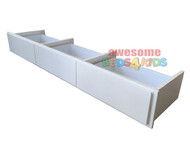 Underbed Storage Drawer For Beds and Bunks is the perfect solution for some extra space saving. 3 Drawer unit has metal runners and can go on either side of your bed. Available in White.