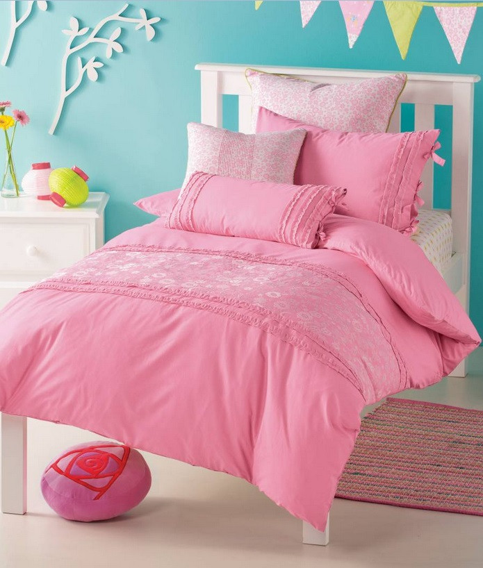 Delicate and lovely, these quilt cover sets feature a lot of pink hues and colours. Bands of embroidered flowers and butterflies make their way across the soft cotton set. Accented with ruffles, this is one of the most feminine quilt covers online and will work for all ages. Each of our quilt cover sets includes a quilt cover and one (SB) or two standard pillowcases.