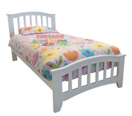 Albino Bed Frame features an opened slated curved headboard and is great value, the perfect first bed.