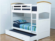 The Burleigh Bunk Bed features a solid head and foot board. The bunk is easy to assemble and can be set up as two single beds if needed. Great modern style with timber trim on bunk bed heads. The bunk can be configured for either side.
