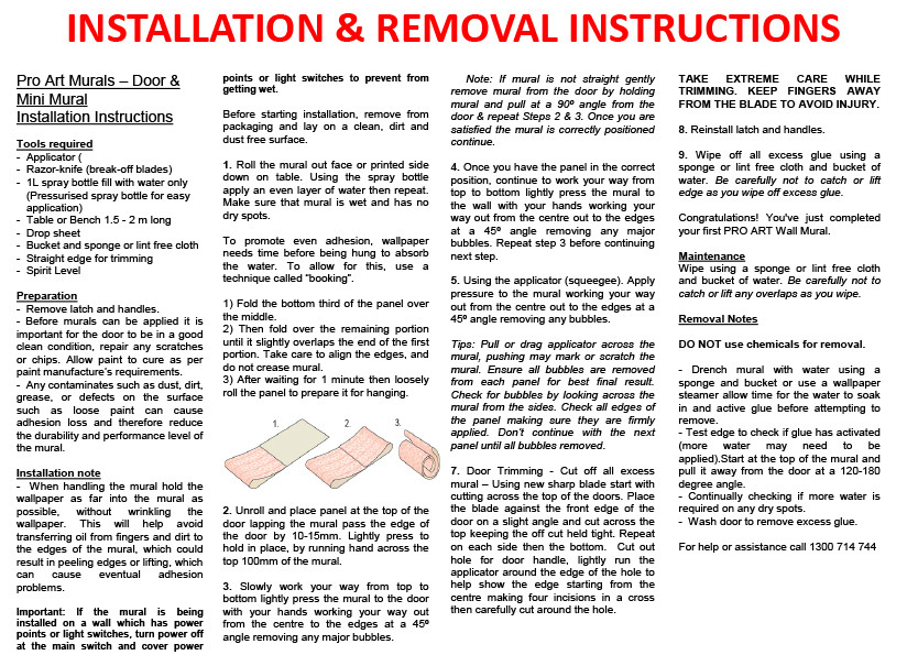 Installation & Removal Instructions - Print Out If Required but will be with product.