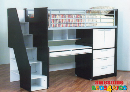 The Single Evan Loft Bunk is the perfect all in one solution for your kids room. The bed features a single bed, easy walk up stairs with storage, good size cupboard with shelves a full size desk