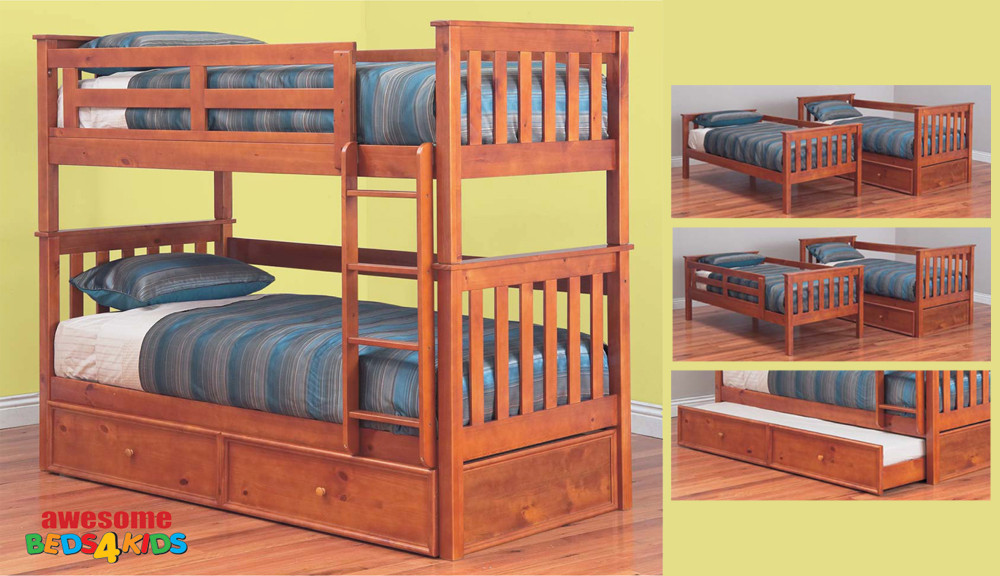 The Fort Bunk Bed features an open slated head and foot board to give a sense of space. The bunk is easy to assemble and can be set up as two single beds if needed.