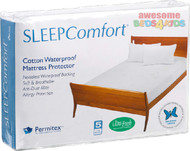 Classic Waterproof Mattress Protector with Permitex By Sleep Comfort features a terry toweling surface provides absorbency while the flexible, waterproof backing gives peace of mind with this protector. Fully fitted with a stretch knit skirt, it can be both machine washed and tumble dried.