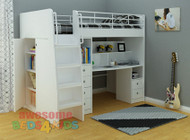 The Neptune Loft Bunk is the perfect all in one solution for your kid's room. The bed features a single bed, ladder with easy climbing stairs, great size cupboard with shelves at the end of the bunk, full size desk with shelves and plenty of drawer space either side four drawers and also two drawers.