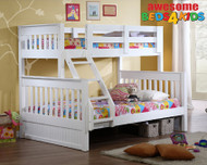 Bayswater Double Single Bunk is great value and a premium bunk bed! The Bayswater bunk bed features a modern style head and foot board. The bunk can be used by itself or used as the combination allowing greater flexibility. The lean to ladder makes it easier to go up and down