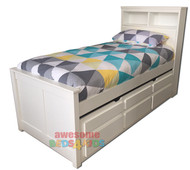 Botany captains bed frame has the best of both worlds! features handy storage bed head plus the trundle has 3 drawers for clothes etc and combined with a single trundle bed. Bed is made from combination of hardwood and MDF.