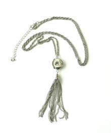 SNAP JEWEL TASSEL NECKLACE - SILVER