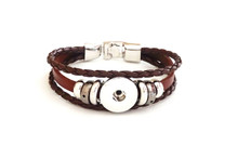 THREE STRAP LEATHER BRACELET BROWN