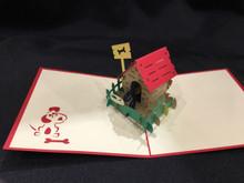 Handmade 3D Kirigami Card  Dog House