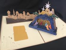 Handmade 3D Kirigami Card  Nativity Tan